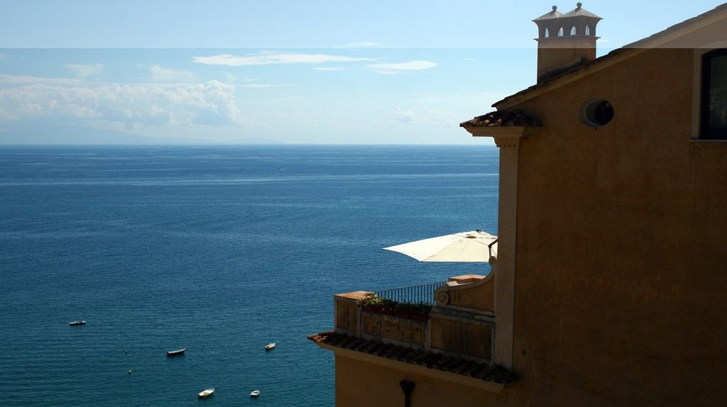 Sea view from the gardens of Palazzo Suriano